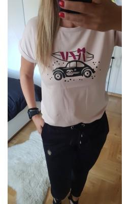 T-SHIRT MOBILE CAR BEŻ